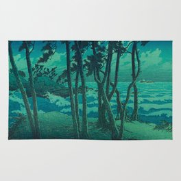 Kawase Hasui Vintage Japanese Woodblock Print Cluster Of Pine Trees Near The Water's Edge At Night Rug