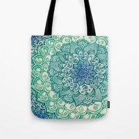 blue Tote Bags featuring Emerald Doodle by micklyn