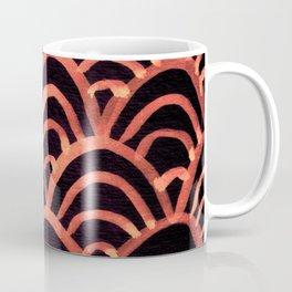 Handpainted Scallops Mermaid Scales Red Orange and Black Coffee Mug