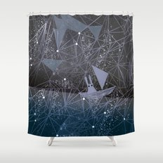 sailing through space Shower Curtain