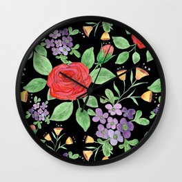 Watercolor floral pattern.7 Wall Clock