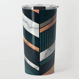 Abstract Chevron Pattern - Copper, Marble, and Blue Concrete Travel Mug