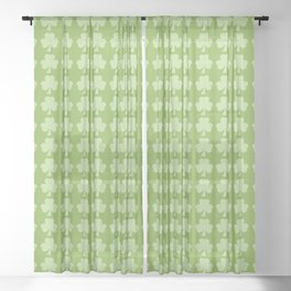 Greenery Shamrock Clover Polka dots St. Patrick's Day Sheer Curtain