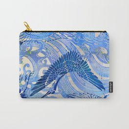 Blue Chinoiserie Watercolor Waves & Cranes  Carry-All Pouch