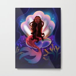 Mermaid in a Shell Metal Print