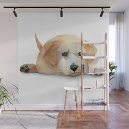Low Poly Yellow Lab Wall Mural