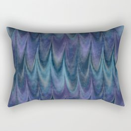 Blue Abstract Feather Pattern Rectangular Pillow