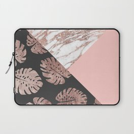 Blush Pink Rose Gold Marble Swiss Cheese Leaves Laptop Sleeve