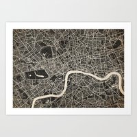 london map Art Prints featuring London map by Les petites illustrations