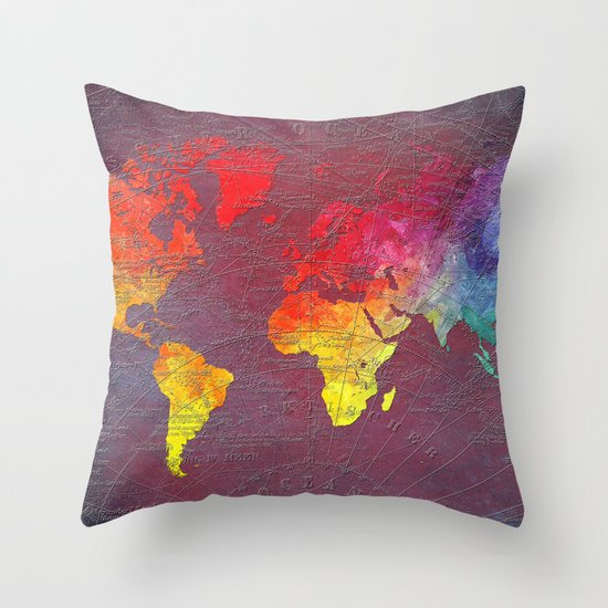 Throw Pillows With World Map : world map Throw Pillow by Jbjart Society6