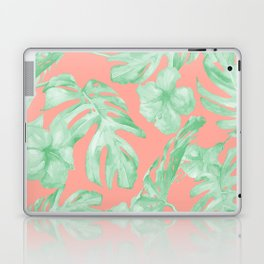 Tropical Palm Leaves Hibiscus Flowers Coral Green Laptop & iPad Skin