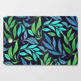 Loose Leaves - cool colors Cutting Board