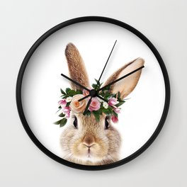 Baby Rabbit, Brown Bunny With Flower Crown, Baby Animals Art Print By Synplus Wall Clock
