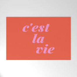 C'est La Vie French Language Saying in Bright Pink and Orange Welcome Mat