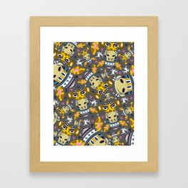 Cute Cartoon Bobble Hat Giraffe Pattern Framed Art Print