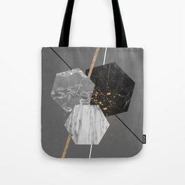 Marble Exagons and Gold Tote Bag