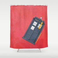doctor Shower Curtains featuring 11th Doctor - DOCTOR WHO by LindseyCowley