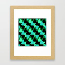 Abstract pattern . The green triangles . Framed Art Print