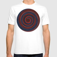 Re-Created Spin Painting (Midnight & Burgundy) Mens Fitted Tee White MEDIUM