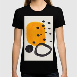 Unique Abstract Unique Mid century Modern Yellow Mustard Black Ring Dots T-shirt