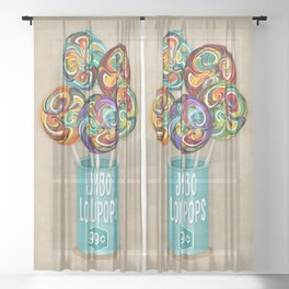 Colorful Kaleidoscope Lollipops Sheer Curtain