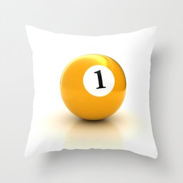 yellow pool billiard ball number 1 one Throw Pillow