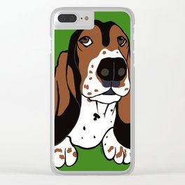 A Dog Mom and Her Basset Hound Clear iPhone Case