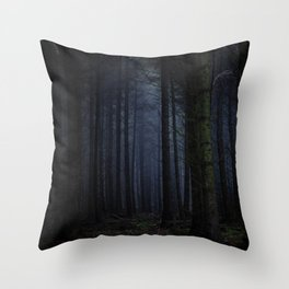The Dark & Eerie Woods (Color) Throw Pillow