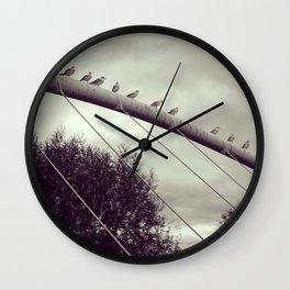 Birds in line Wall Clock