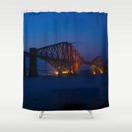 Forth rail bridge at night 2 Shower Curtain