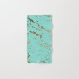 Modern teal gold marble pattern Hand & Bath Towel