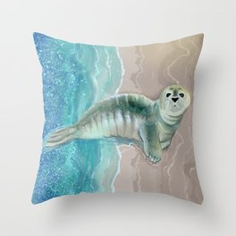 Gray Seal Where the Ocean Meets the Sand Throw Pillow