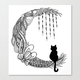 Black Cat Crescent Moon Canvas Print