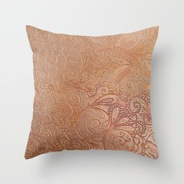 Floral copper Throw Pillow
