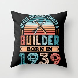 Builder born in 1939 90th Birthday Gift Building Throw Pillow