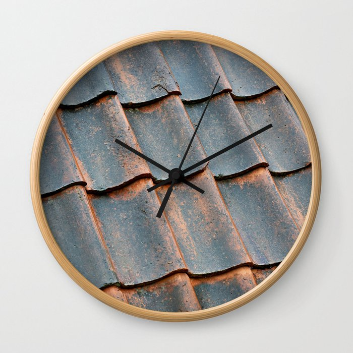 Old tile roof Wall Clock
