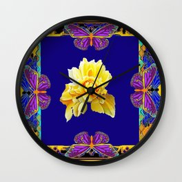Cobalt Blue-Yellow Rose &  Purple Butterfies Decoative Gold  Pattern Wall Clock