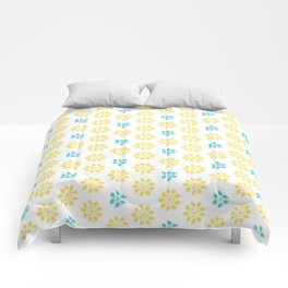 Spring Yellow Blue Flower Pattern Comforters