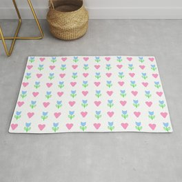 Heart and flower 1 - Blue and pink Rug