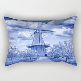 Delft Blue Dutch Windmill Rectangular Pillow