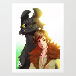 Toothless x Hiccup  Art Print