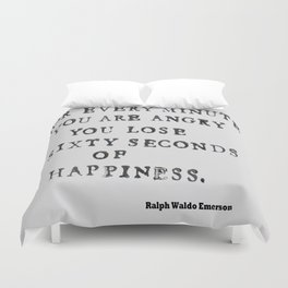 Happiness Ralph Waldo Emerson Quote Duvet Cover