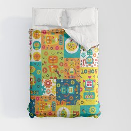 Robot Cheater Quilt Pattern Orange Blue Green Comforters