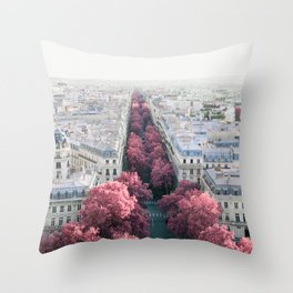 Paris View from Arch de Triomphe - Surreal Fine Art Travel Photography Throw Pillow
