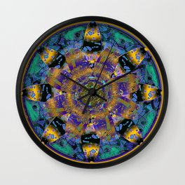 Purple Gold Dream Catcher Mandala Wall Clock