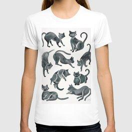 Cat Positions – Black Palette T-shirt