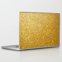 gold glitter Laptop & iPad Skins featuring GOLD GLITTER by I Love Decor