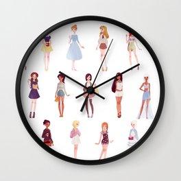 casual princesses - group Wall Clock