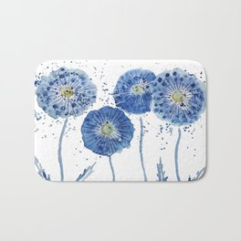 four blue dandelions watercolor Bath Mat