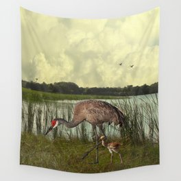 Florida Sandhill Crane and Baby Wall Tapestry